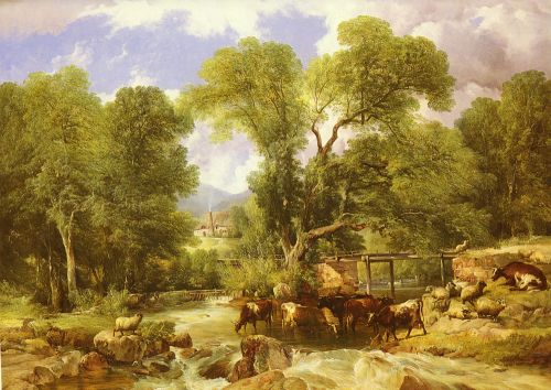 A Wooded Ford by Thomas Sidney Cooper