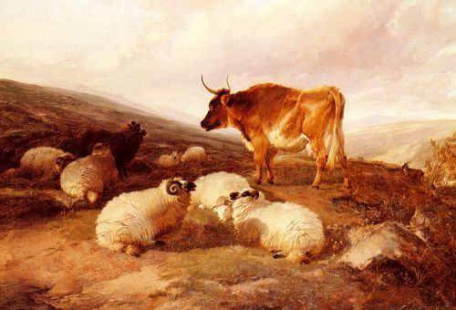 Rams And A Bull In A Highland Landscape by Thomas Sidney Cooper