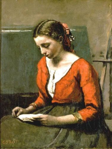 A Girl Reading by Jean-Baptiste Camille Corot