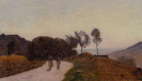 A Road in the Countryside, Near Lake Leman by Jean-Baptiste Camille Corot