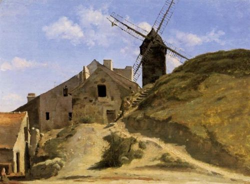 A Windmill in Montmartre by Jean-Baptiste Camille Corot