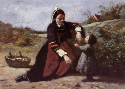 Breton Woman With Her Little Girl by Jean-Baptiste Camille Corot