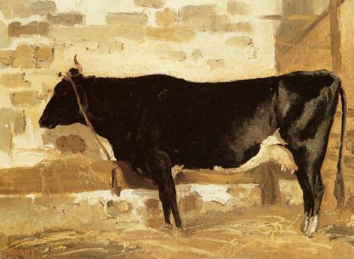 Cow in a Stable by Jean-Baptiste Camille Corot
