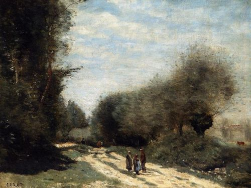 Crecy-en-Brie - Road in the Country by Jean-Baptiste Camille Corot