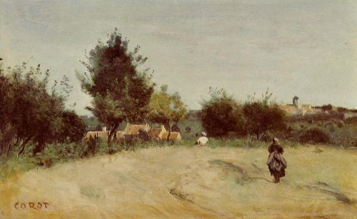 Field above the Village by Jean-Baptiste Camille Corot