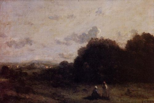 Fields with a Village on the Horizon by Jean-Baptiste Camille Corot
