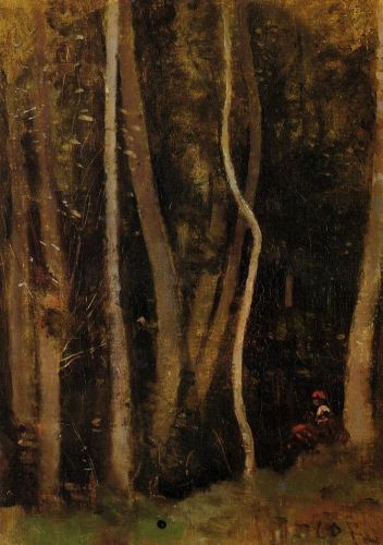 Figures in a Forest by Jean-Baptiste Camille Corot