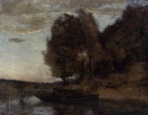 Fisherman Boating along a Wooded Landscape by Jean-Baptiste Camille Corot