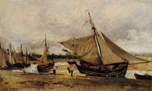 Fishing Boars Beached in the Chanel by Jean-Baptiste Camille Corot