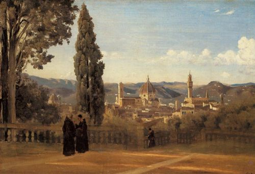 Florence - The Boboli Gardens by Jean-Baptiste Camille Corot