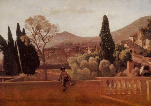 Gardens of the Villa d'Este at Tivoli by Jean-Baptiste Camille Corot