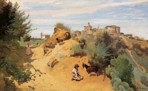 Genzano - Goatherd and Village by Jean-Baptiste Camille Corot