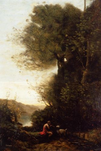 Goatherd Charming His Goat with a Flute by Jean-Baptiste Camille Corot