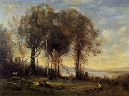 Goatherds on the Borromean Islands by Jean-Baptiste Camille Corot