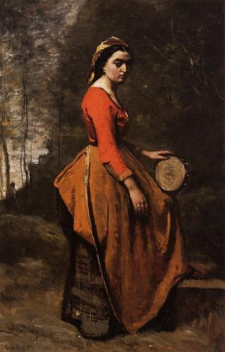 Gypsy with a Basque Tamborine by Jean-Baptiste Camille Corot