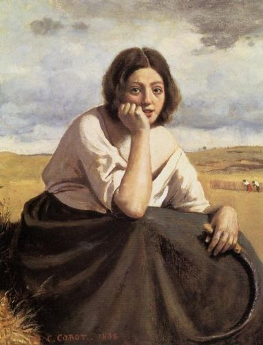 Harvester Holding Her Sickle by Jean-Baptiste Camille Corot