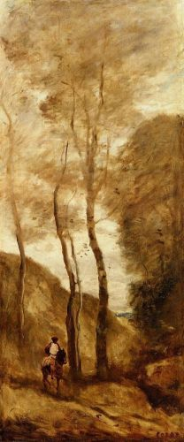 Horse and Rider in a Gorge by Jean-Baptiste Camille Corot