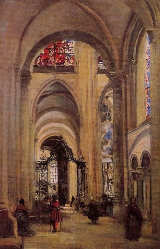 Interior of Sens Cathedral by Jean-Baptiste Camille Corot