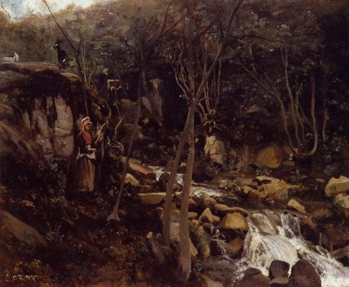 Lormes - A Waterfall with a Standing Peasant, Spinning Wool by Jean-Baptiste Camille Corot