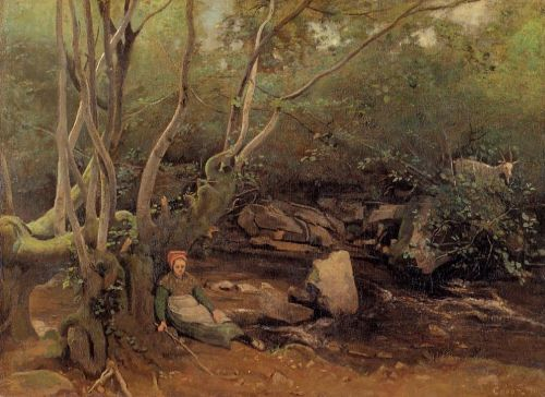Lormes - Shepherdess Sitting under Trees beside a Stream by Jean-Baptiste Camille Corot