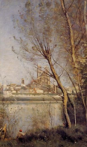 Mantes - the Cathedral and the City Seen throuth the Trees by Jean-Baptiste Camille Corot