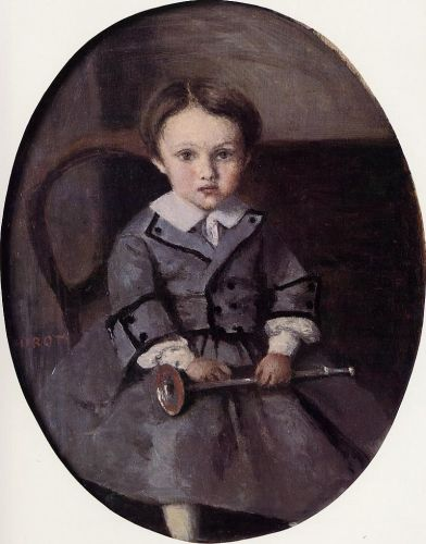 Maurice Robert as a Child by Jean-Baptiste Camille Corot