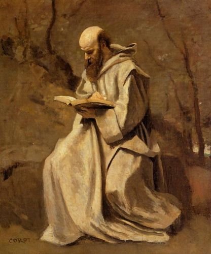 Monk in White, Seated, Reading by Jean-Baptiste Camille Corot