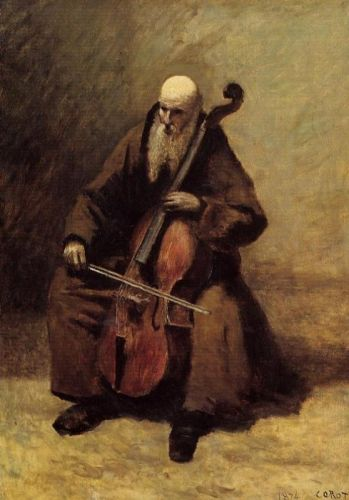 Monk with a Cello by Jean-Baptiste Camille Corot