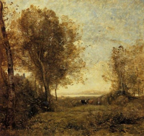 Morning - Woman Hearding Cows by Jean-Baptiste Camille Corot