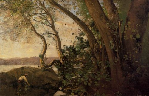 Nemi, the Lake's Edge by Jean-Baptiste Camille Corot
