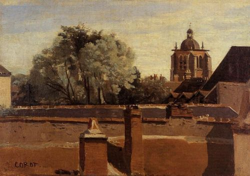 Orleans - View from a Window Overlooking the Saint-Peterne T by Jean-Baptiste Camille Corot