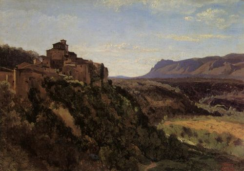 Papigno - Buildings Overlooking the Valley by Jean-Baptiste Camille Corot