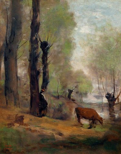 Peasant Woman Watering Her Cow by Jean-Baptiste Camille Corot
