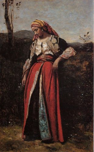 Pensive Oriental by Jean-Baptiste Camille Corot