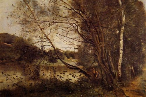 Pond at Ville d'Avray, with Leaning Trees by Jean-Baptiste Camille Corot