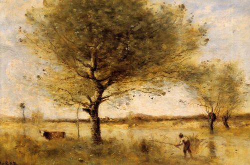 Pond with a Large Tree by Jean-Baptiste Camille Corot