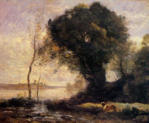 Pond with Dog by Jean-Baptiste Camille Corot