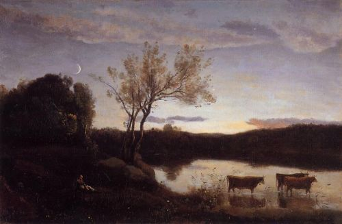 Pond with Three Cows and a Crescent Moon by Jean-Baptiste Camille Corot