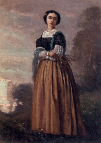 Portrait of a Standing Woman by Jean-Baptiste Camille Corot