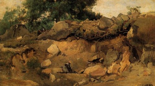 Quarry of the Chaise-Mre at Fontainebleau by Jean-Baptiste Camille Corot