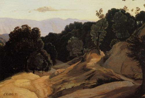 Road through Wooded Mountains by Jean-Baptiste Camille Corot