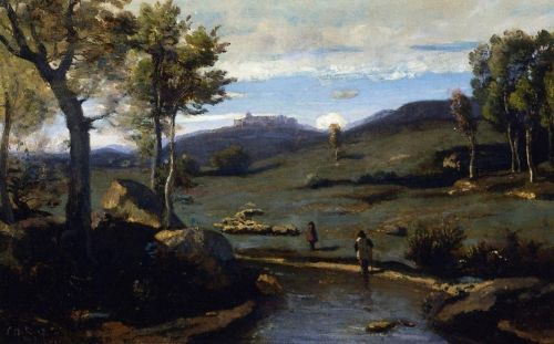 Roman Countryside - Rocky Valley with a Herd of Pigs by Jean-Baptiste Camille Corot