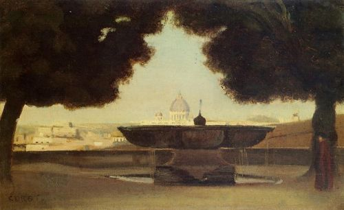 Rome - The Fountain of the Academie de France by Jean-Baptiste Camille Corot