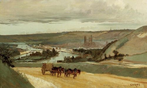 Rouen Seen from Hills Overlooking the City by Jean-Baptiste Camille Corot