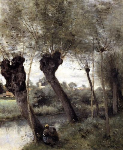 Saint-Nicholas-les-Arras, Willows on the Banks of the Scarpe by Jean-Baptiste Camille Corot