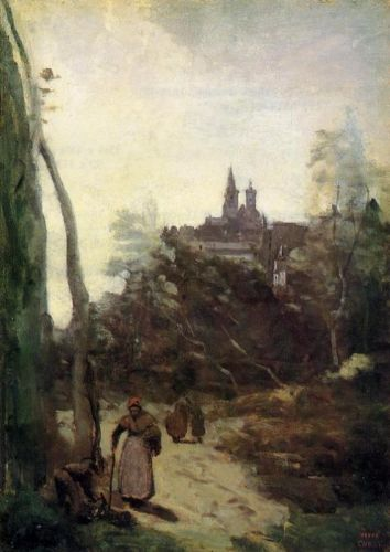 Semur - the Path from the Church by Jean-Baptiste Camille Corot