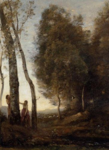Shepherd and Shepherdess at Play by Jean-Baptiste Camille Corot