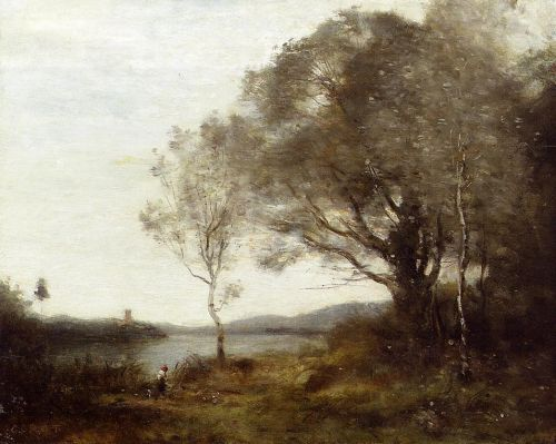Strolling along the Banks of a Pond by Jean-Baptiste Camille Corot