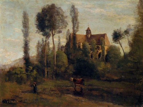 The Church at Essommes, near the Chateau Thierry by Jean-Baptiste Camille Corot