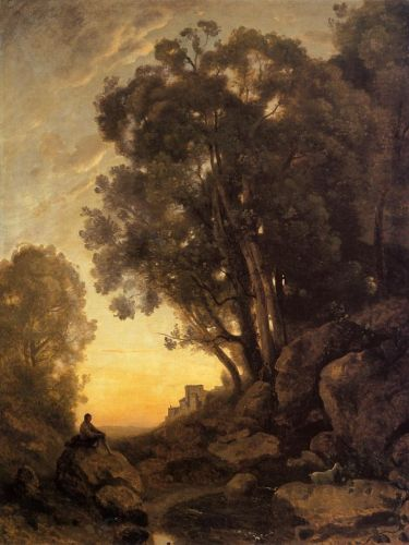 The Italian Goatherd, Evening by Jean-Baptiste Camille Corot